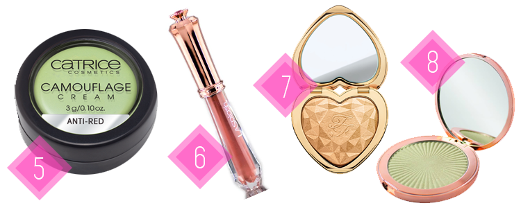 wishlista, catrice camouflage, anti-red camouflage, sinfully angelic, love light too faced, sun kiss