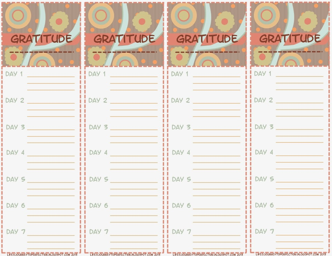 It Includes Four Separate Week Columns With Space For Three Things You Are  Grateful For Each Day. One Nice Thing About This Template Is That You Can  Start ...  Free Journal Templates