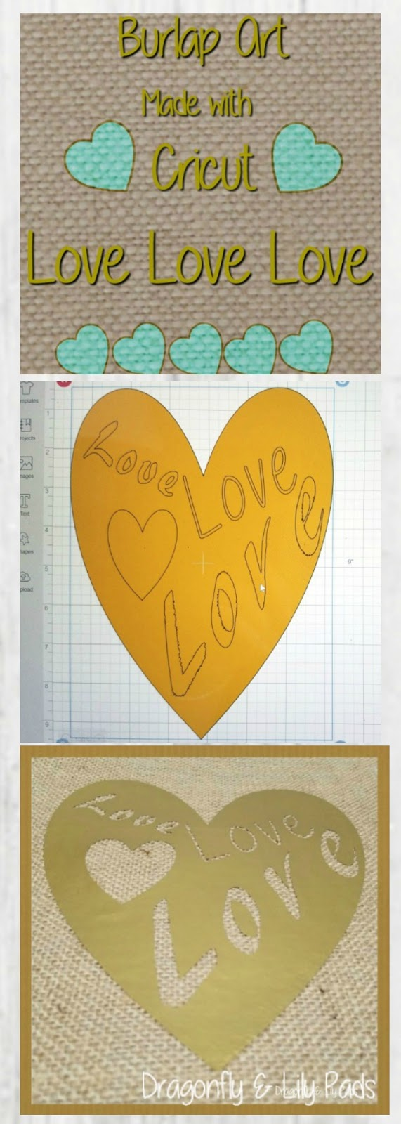 Burlap Art made with Cricut Maker Heart shape with Love Love Love