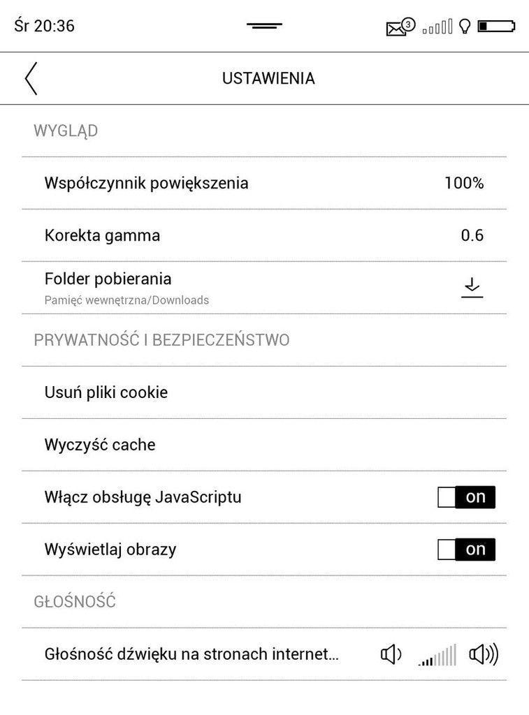 Ustawienia przeglądarki w PocketBook Touch HD 3