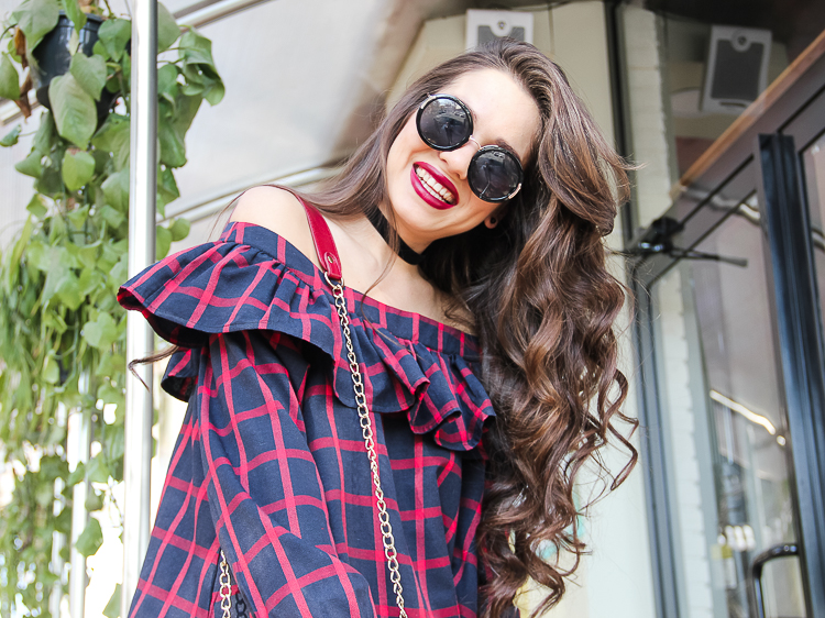 fashion blogger diyorasnotes off shoulder top shein choker bright lips round sunglasses asos ripped jeans high heels socks