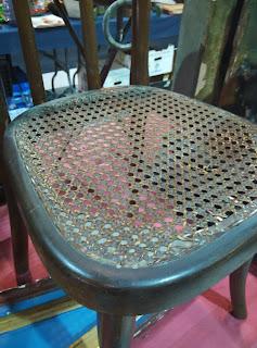 Detalle de antigua silla de enea