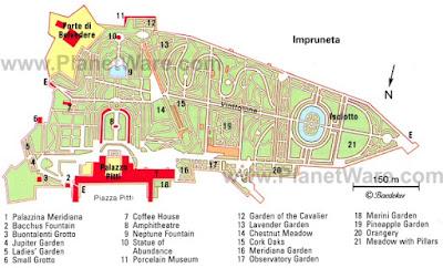 Mappa di Palazzo Pitti e Giardini di Boboli