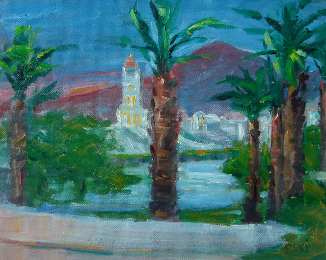 Scotty's Castle in Death Valley Desert depicted as a night scene in oils, with palm trees