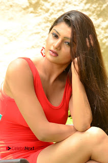 Actress Poojitha  Pictures in Red Short Dress at Bullet Movie Opening  0057