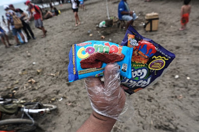 Plastic packaging thrown at public beaches