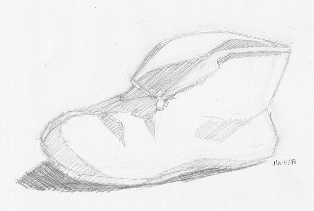 Daily Art 01-04-18 still life sketch in graphite number 93 - cozy slipper
