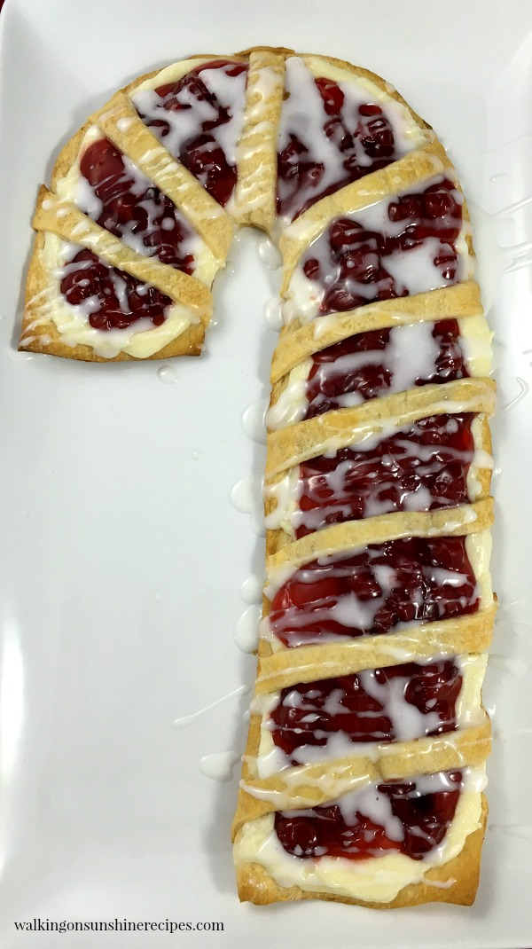 Candy Cane Danish on white plate from Walking on Sunshine Recipes WOS