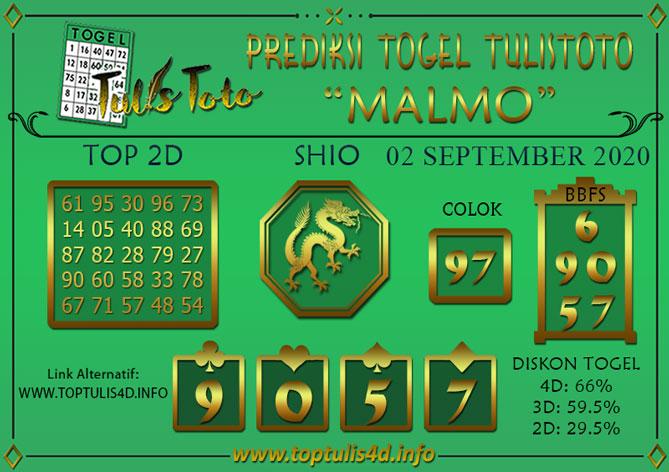 Prediksi Togel MALMO TULISTOTO 02 SEPTEMBER 2020