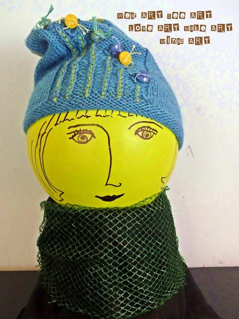 Blue Knit Purl Button Slouchy Hat designed by Minaz Jantz