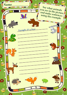 forest animals making uncomplicated sentences worksheet