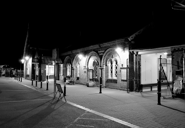 Night Photo of The Illuminated entrance to the former Wellingborough Midland Railway Station