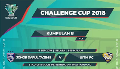 Live Streaming JDT II vs UITM FC Challenge Cup 18.9.2018