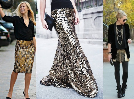 black and gold sequin skirt