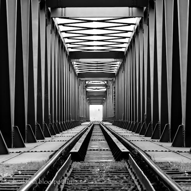 Az algyő vasúti híd szerkezete feketefehérben