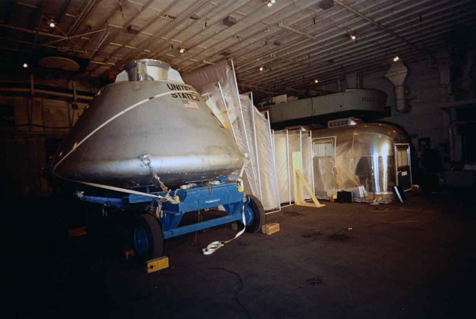 Inside the mobile quarantine facility for Apollo 11.