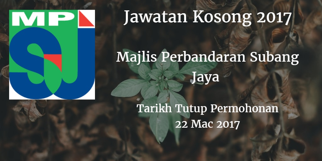 Jawatan Kosong MPSJ 22 Mac 2017