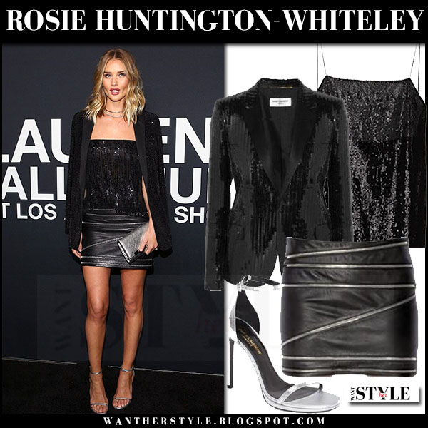 Rosie Huntington-Whiteley in black sequin blazer, black sequin top and black leather zipper mini skirt saint laurent what she wore front row red carpet