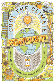"""Colorful poster that says' """"Cool the Climate - Compost! International Compost Awareness Week May 5-11, 2019"""" Artwork by Evan Clark, poster contest winner"""