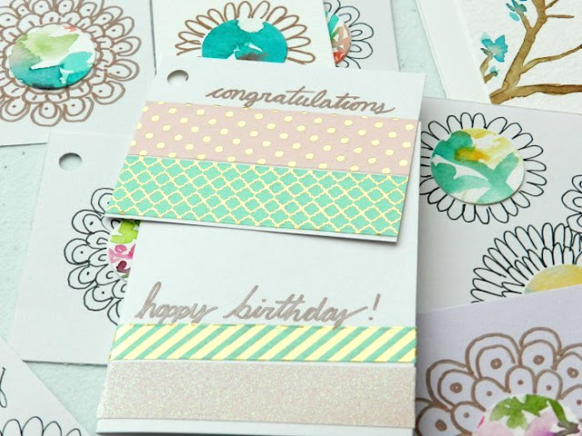 happy birthday gift tags and cards made with watercolors and washi tape: grow creative blog