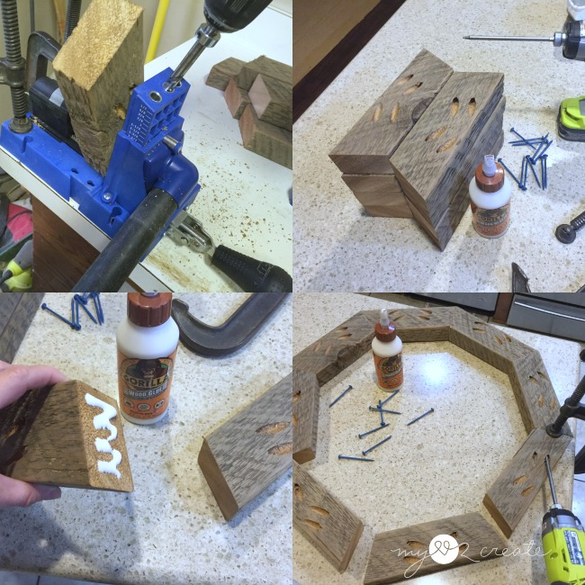 building rustic octagon mirror frame with pocket holes