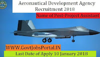 Aeronautical Development Agency Recruitment 2018– 24 Project Assistant