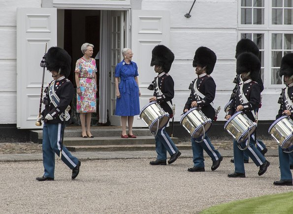 Queen Margrethe and Princess Benedikte attended ceremony of guard changing held at Grasten Palace. Princess Mary