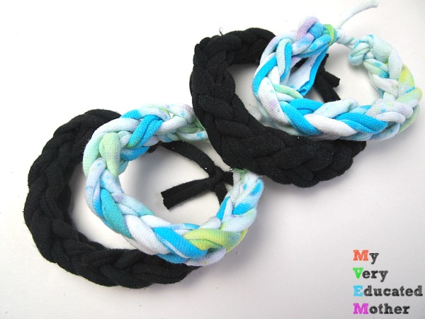 A great craft to make during scouts or camping! Use your old tshirts to create these fun bracelets with the kids.