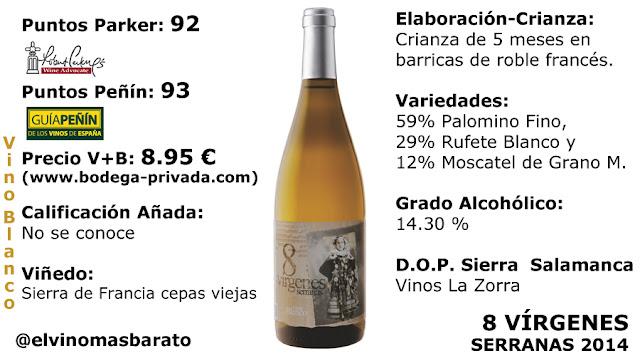 vino blanco ocho vírgenes serranas 2014 DOP Salamanca Sierra del Francés Variedad Rufete