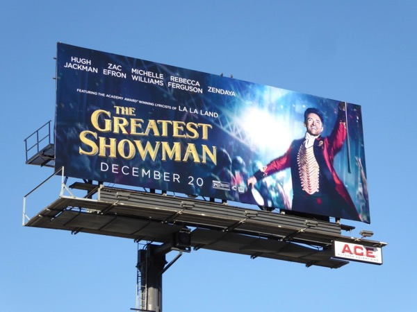 Hugh Jackman Greatest Showman billboard