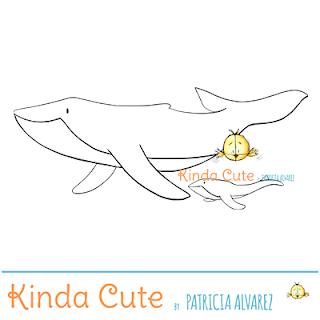 Whales digital stamp