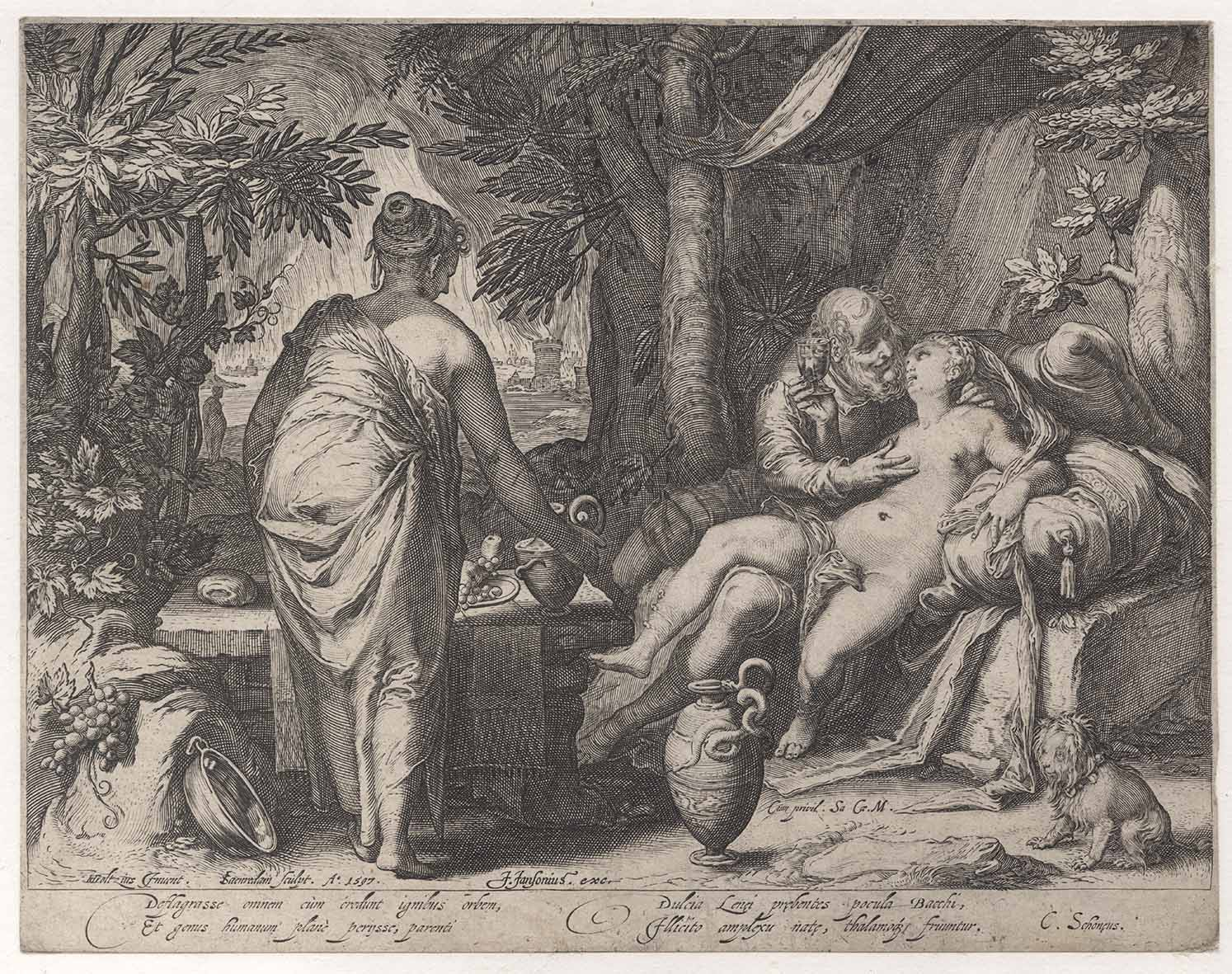 "Jan Saenredam's engraving, ""Lot and His Two Daughters"", 1597, after Hendrik  Goltzius"