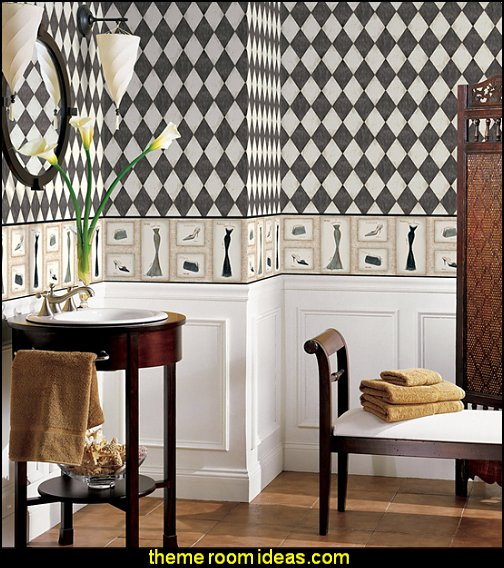Harlequin wallpaper  Harlequin decor - diamond design  - Harlequin pattern decorating - diamond pattern decor - harlequin stencils - Geometric wall stencils - Harlequin Furniture Stencil  -  Harlequin wallpaper -