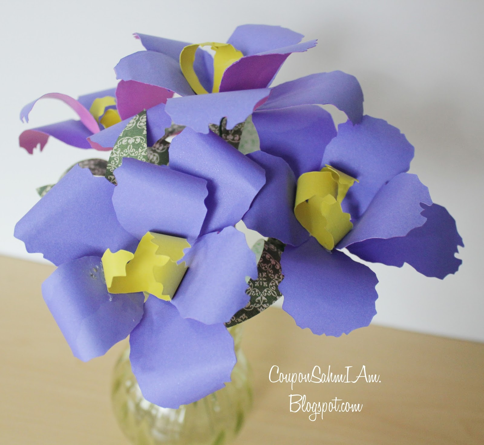 Coupon sahm i am paper flower recital bouquet periwinkle blue iriss yes please i can see iriss being a very popular paper flower for any occasion they make every one feel a bit more peace and izmirmasajfo