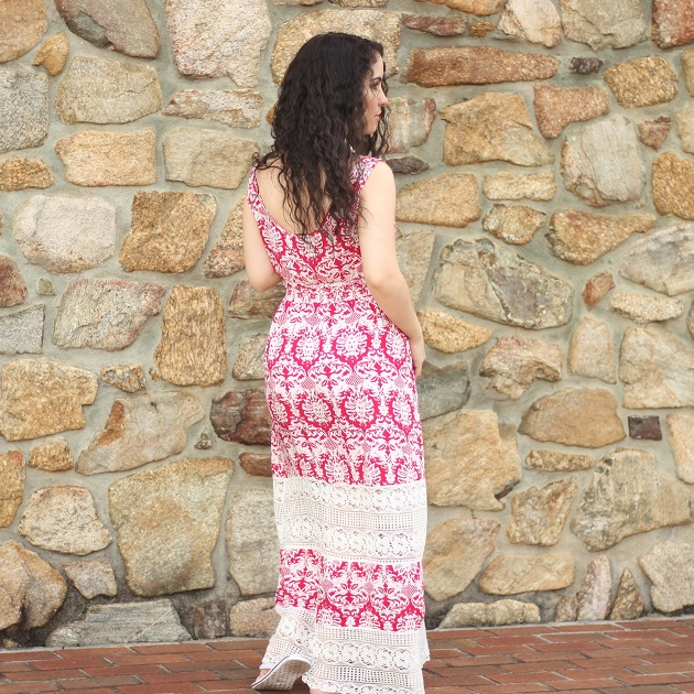 Red and White Print Maxi Dress