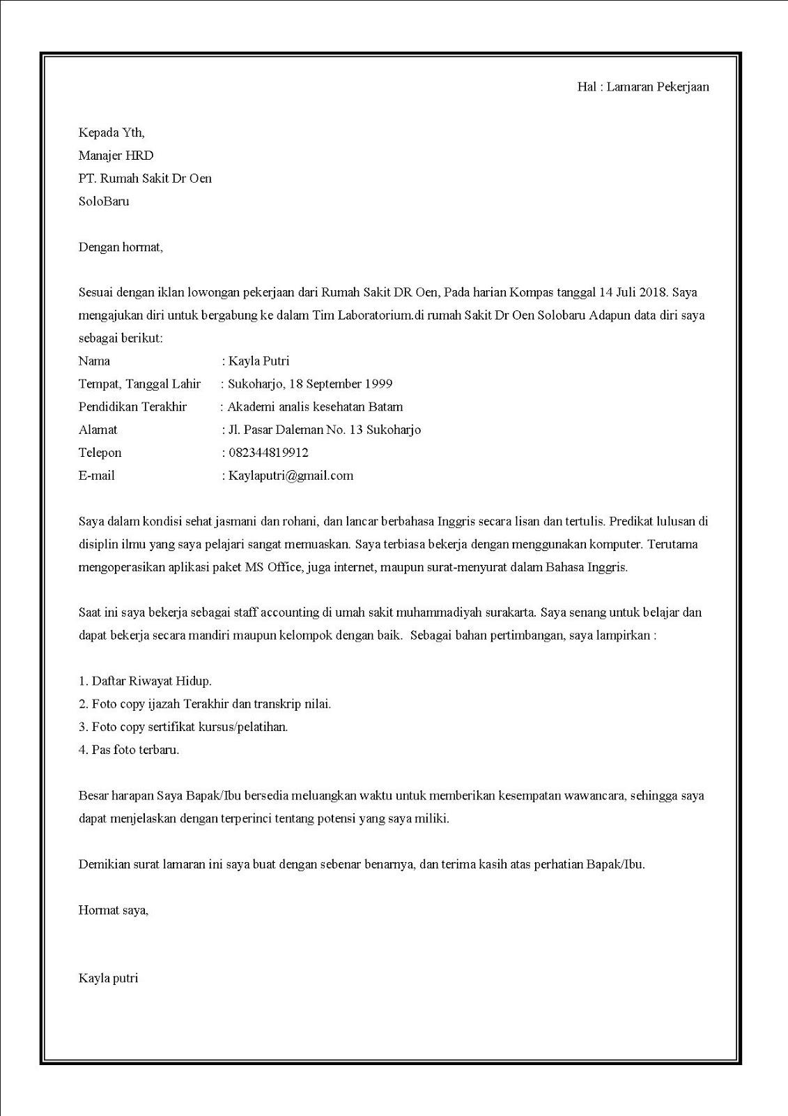 Contoh surat lamaran kerja di rumah sakit sebagai analis kesehatan