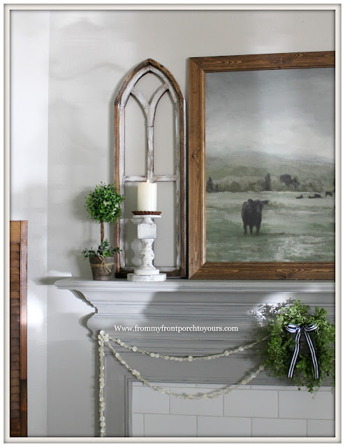 French Country Farmhouse Fireplace-Arched Window Frame-Mini Wreath-Cow Artwork-Flameless Candle-From My Front Porch To Yours