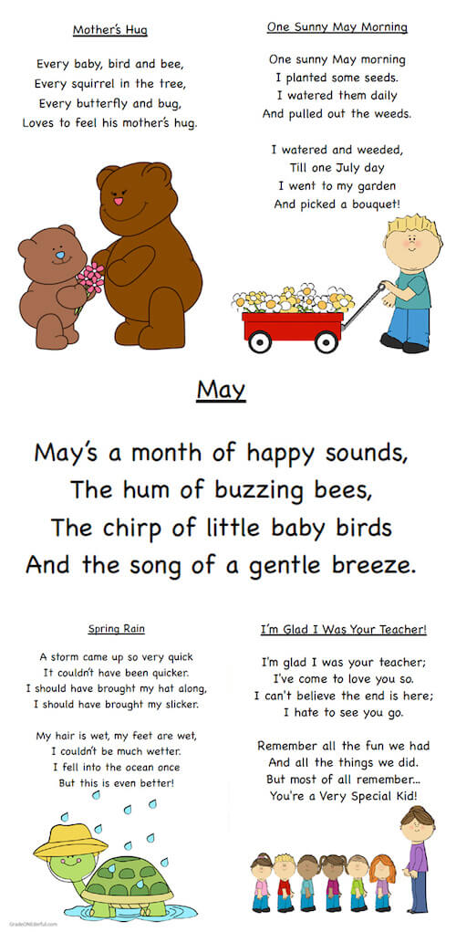 FREEBIE: 5 May poems for K, 1, 2, with 5 variations: coloured, black and white, cloze, mix 'n match, printing practice. A Mother's Day and End-of-the-Year poem is also included.