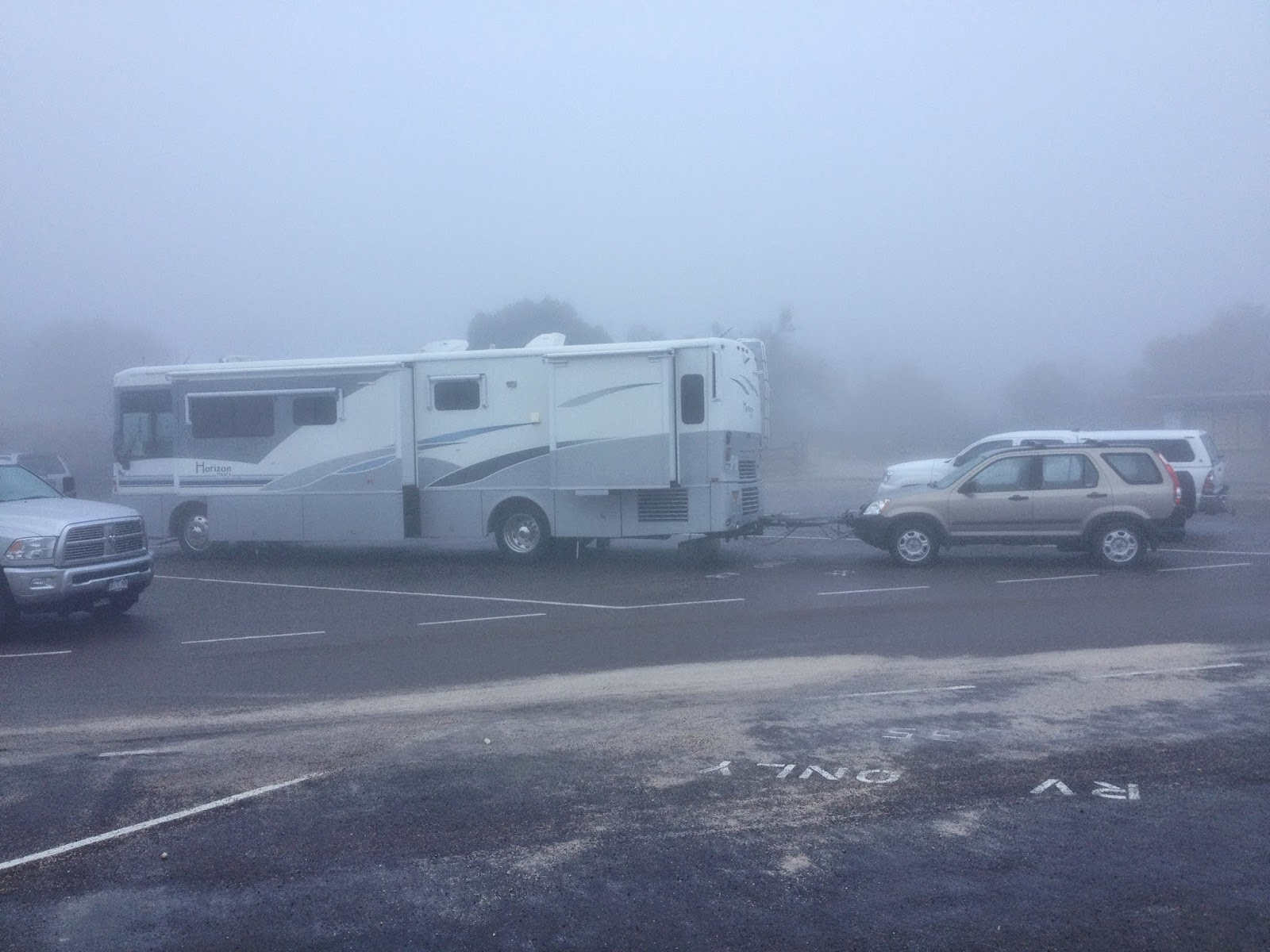 Motorhome enshrouded in fog at Guadalupe Mountains National Park