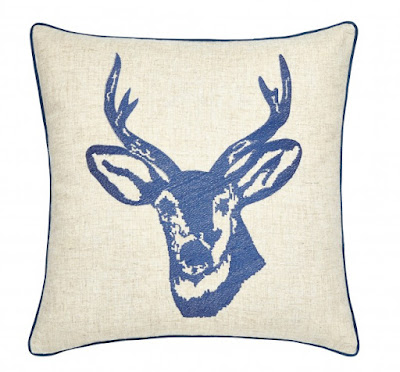 Stag Embroidered Cushion, Navy