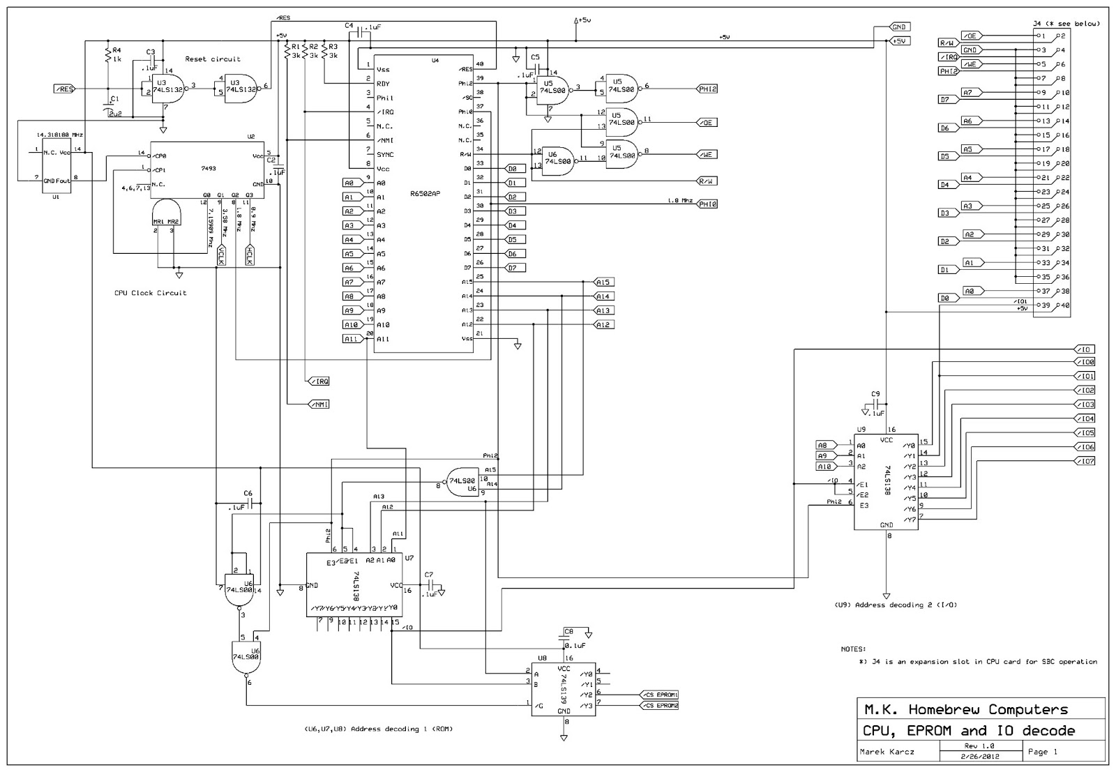 circuit diagram of a phase failure circuit diagram of a cpu homebrew computers: mkhbc-8-r1 homebrew 6502 computer ...