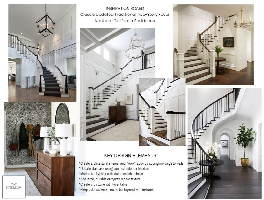 CAD Interiors e-design online interior design decorating entryway transitional decor accessories styling moldings trimwork wainscoting board and batten wall paneling modern traditional