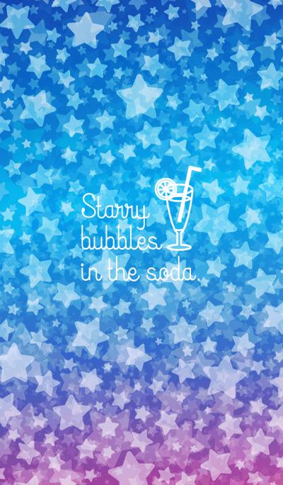 Starry bubbles in the soda blue