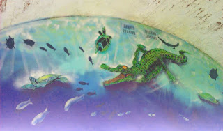 Alligator and Turtle murals on the Fossil Art Trail at The Reptilarium at Fort Victoria