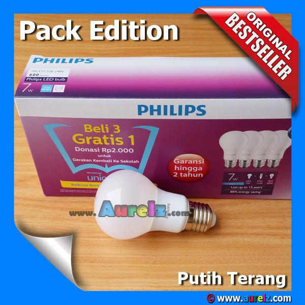 lampu led philips 7 watt cool daylight / putih terang beli 3 gratis 1 edisi unicef pack edition