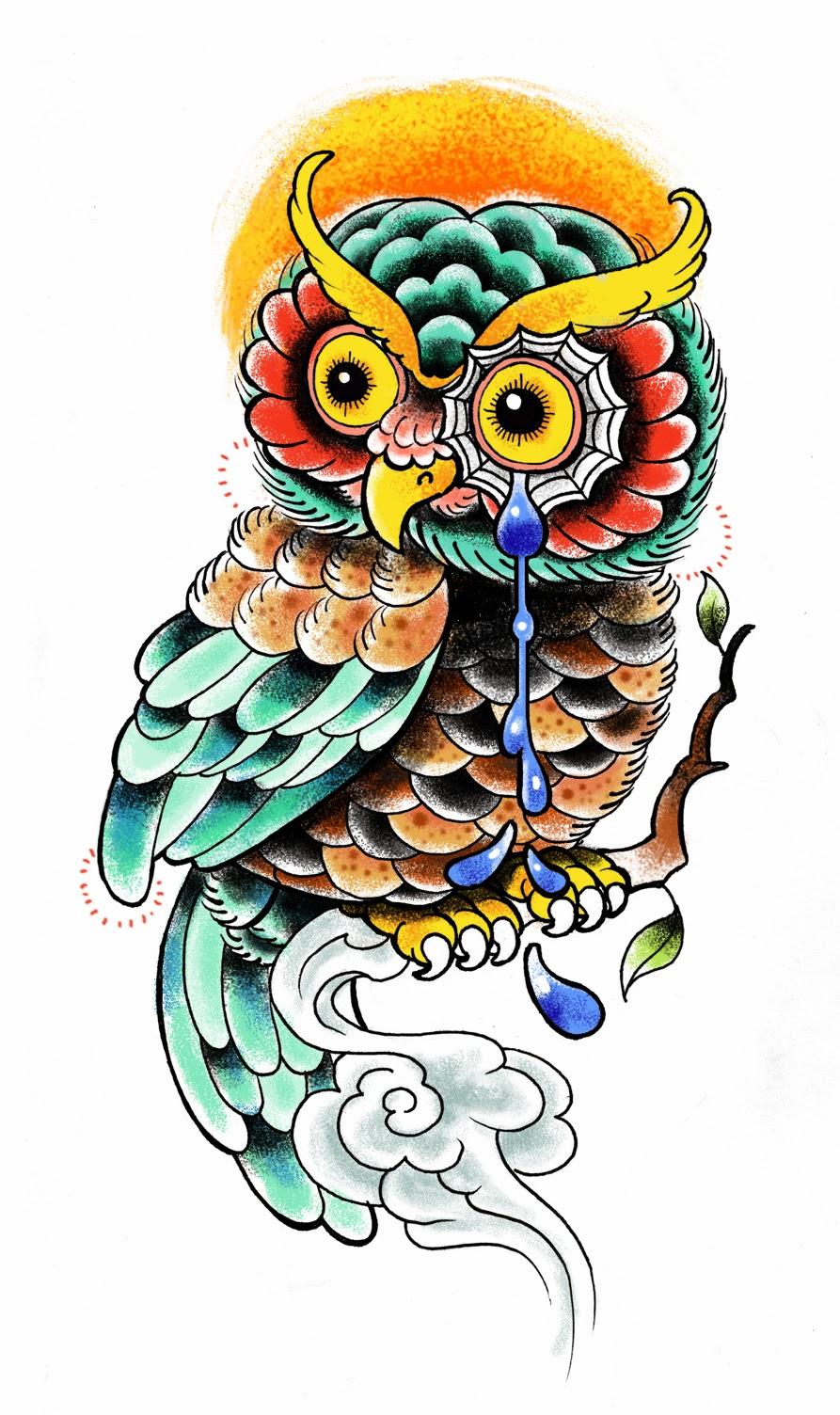 Owl crying tattoo stencil
