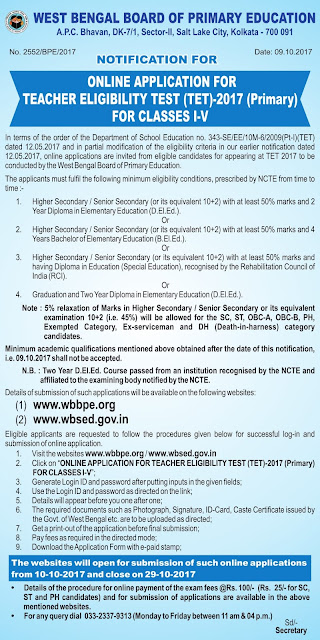 NOTIFICATION FOR ONLINE APPLICATION FOR PRIMARY TEACHER ELIGIBILITY TEST (TET)-2017 CLASSES I-V