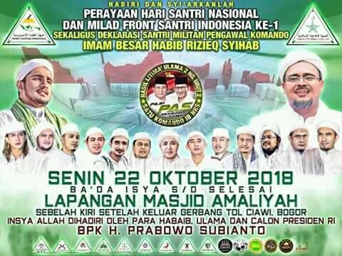 Yuuk Hadiri Perayaan Milad Front Santri Indonesia 1 di Ciawi Bogor