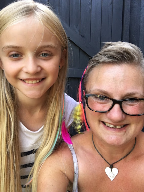 mummy blogger  and daughter wearing Hair Flair extensions