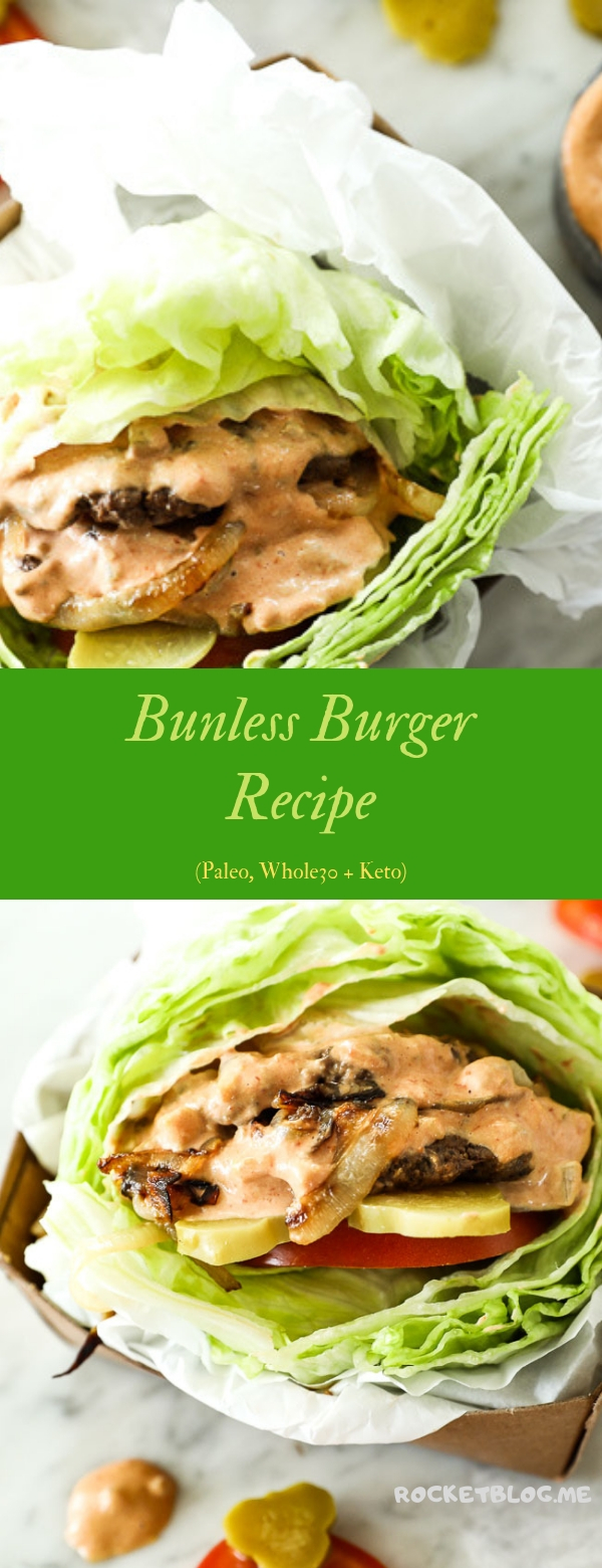 Bunless Burger Recipe (Paleo, Whole30 + Keto) #BURGER #PALEO #WHOLE30 #KETO